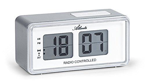 Atlanta Despertador Digital LCD Flip Radio Controlled Snooze Plata Diseño retro – 1881-19