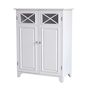 Elite floor cabinet provides a fixed and an adjustable shelf Sturdy engineered-wood construction; pure-white finish Paneled cupboard doors with crisscross-patterned cutout windows Streamlined style complements any space; some assembly required Measur...