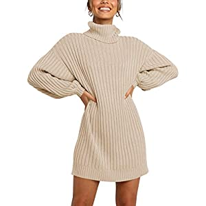 LOGENE Women's Sweater Dress Turtleneck Long Sleeve Loose Ribbed Knit Mini Dress