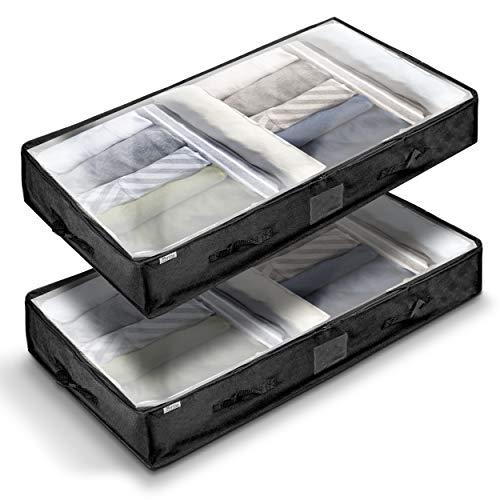 Muvino HOME & LIVING © Unterbettkommode - Robuste Aufbewahrungstasche 100x50x18 cm für Decken und Kissen - Kleideraufbewahrung - 100 l Fassvolumen - 6 Griffe + Gratis 2 Wäschesäcke (Schwarz)