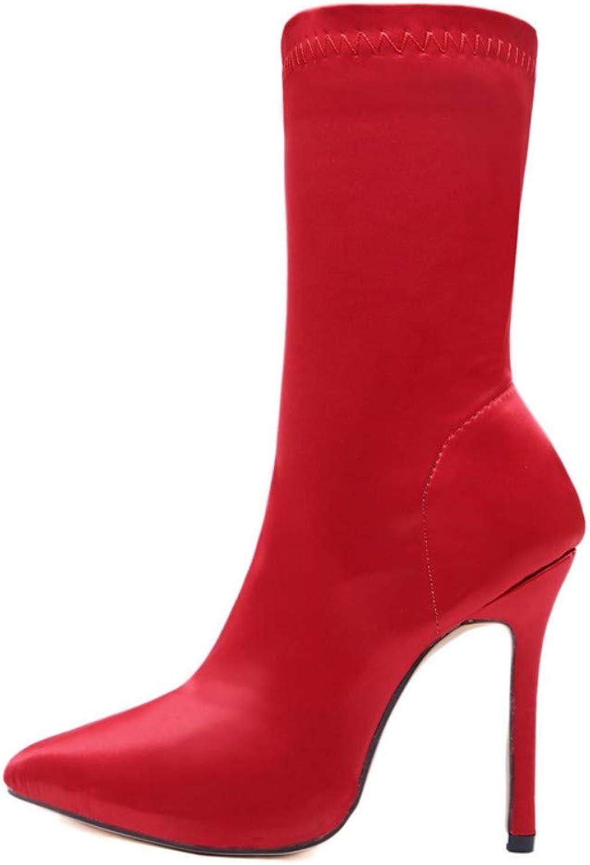 JQfashion Women's high Heels, Pointed, Slim-Heeled, Sexy Socks, Boots, Boots, Silk, Satin Elastic Boots