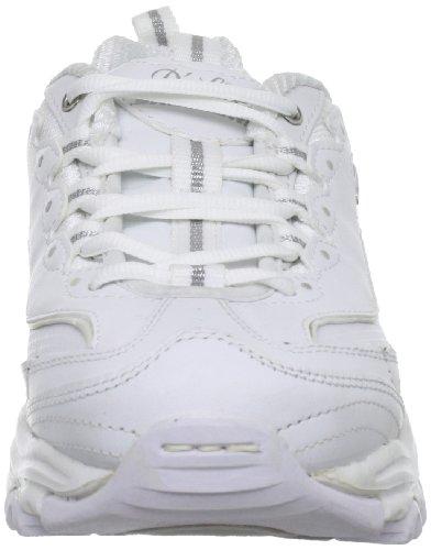 Skechers Sport Women's D'Lites Lace-Up Sneaker, White/Silver, 8 M US