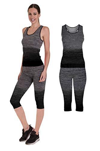 Bonjour - Abbigliamento sportivo da donna/canotta e leggings (set da 2 pezzi, top e leggings), set da palestra o per yoga, elasticizzato, Yellow Vest Top, One Size ( UK 8 - 14 )
