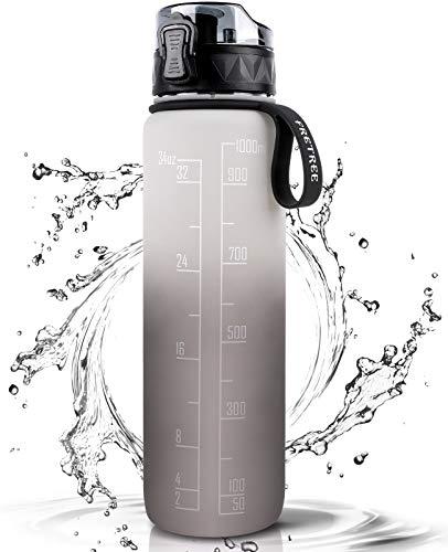 FRETREE Trinkflasche 1L Sport Wasserflasche - [Trinkflasche BPA Frei] Trinkflasche mit rutschfest Gummi Grip Geeignet für Die Fahrrad, Outdoor, Schule, Gym (Schwarzgrau)