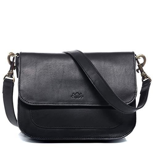 SID & VAIN Schultertasche echt Leder Fran Handtasche Schultergurt Umhängetasche Ledertasche Damen schwarz