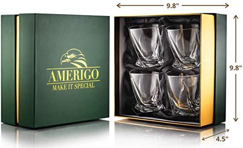 Amerigo Premium Whisky Gläser 4-teiliges Set Geschenkbox - Twist Whisky Gläser für Scotch, Bourbon & altmodische Cocktails (340ml) - Whisky-Geschenk für Männer - Vatertagsgeschenk - Bar-Set - 2