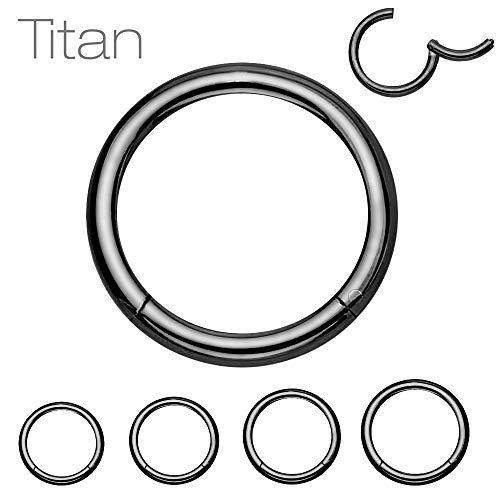 Treuheld® Segmentring Piercing Clicker | 1,6mm x 11mm | Titan | Schwarz | Klicker Ring für Helix, Septum, Tragus, Ohr, Bauchnabel Lippe Intim Auge