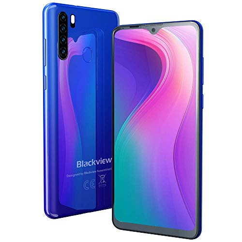 "Teléfono Móvil Libre 4G, Blackview A80 Pro Smartphone(2020), 6.49"" HD+ Water-Drop Screen, 64GB+ 4GB (SD 256GB), Batería 4680mAh, 13MP+ 8MP, Octa-Core, Dual SIM, NFC, GPS, Face ID - Azul"