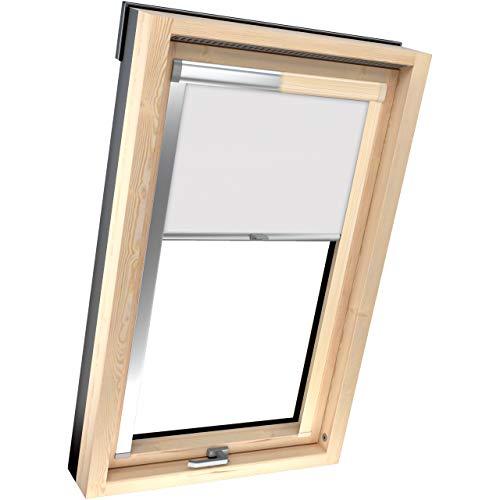 4dekor Dachfenster Rollo verdunkelung für 41 fenstermodelle Velux, 13 materialfarbe, 2 gehäusefarben, Rollos zum verdunkeln Thermo, Verdunkelungsrollo für schräge Fenster, 100% Sonnenschutz
