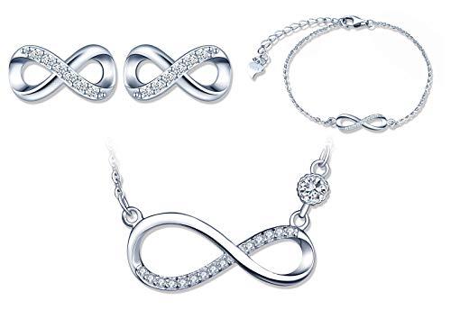 Conjuntos de joyas de plata 925, collar con símbolo de infinito, pulsera y aretes con símbolo de infinito, circón con incrustaciones, joyería para mujer niña, regalo de Navidad y cumpleaños