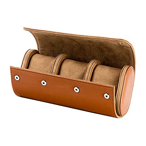 Bhuuno Caixa de relógio masculina de couro sintético para joias, brincos, porta organizadora – 3 compartimentos, conforme descrito