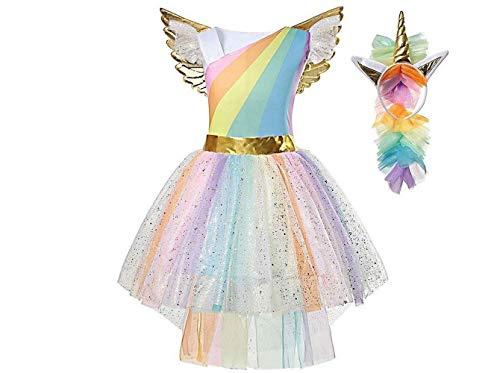 La Senorita Vestido Unicornio del Arco Iris niña + Collar + Diadema Unicornio Traje Vestido de Fiesta Princesa Tutu Disfraces (3-4 años (S))