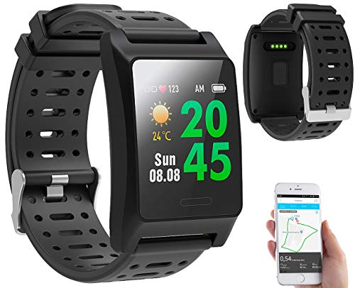 newgen medicals Sportuhr: Fitness-GPS-Smartwatch, Herzfrequenz-Anzeige, Farb-Display, App, IP68 (Smart Uhren)