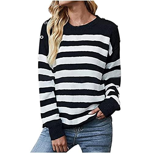 Jersey de punto para mujer, de invierno, manga larga, de punto, de punto, de manga larga, jersey de punto, Negro , XL