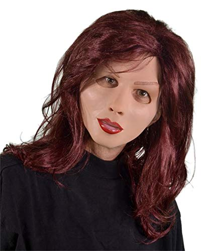 Diva Maske aus Schaumlatex mit roten Haaren