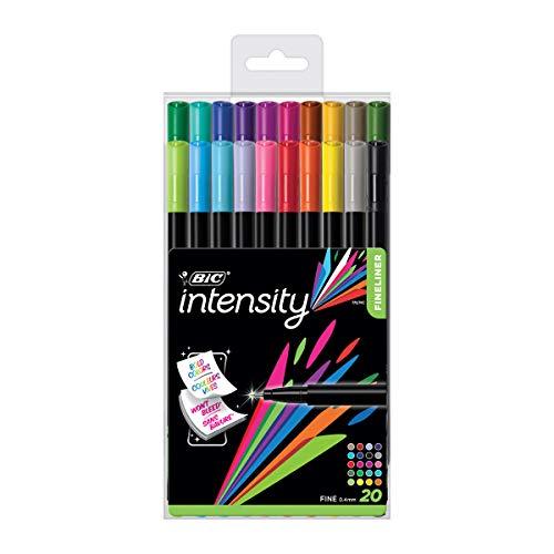BIC Intensity Fineliner, Filzstifte in 20 verschiedenen Farben, mit feiner Spitze, für Bullet Journal und Mandala