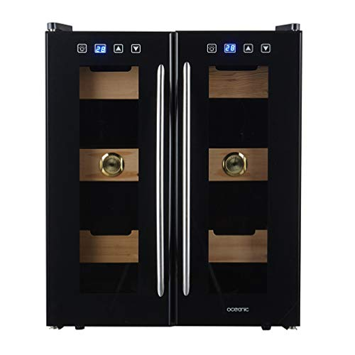 XUNMAIFWC Wine Cooler Mini Dual Zone Built-in and Freestanding with Stainless Steel, 24 Bottle Freestanding Wine Chiller Fridge Stainless Steel with Glass Door