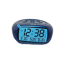 Equity by La Crosse 31038B LCD Calendar Alarm Clock with Temperature, Blue