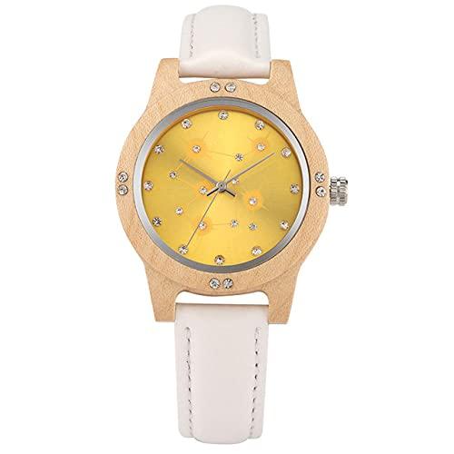 GIPOTIL NuevosRelojes de Madera para Mujer Reloj dePulsera de Cuero deCuarzoPulsera Elegante Reloj de Madera Regalos Reloj para Mujer, Blanco