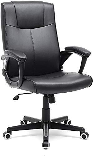 Silla Giratoria de Oficina, PU Resistente, Ajustable en Altura, Diseño Ergonómico, Negro