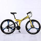 24/26 Pulgadas montaña Plegable para Bicicleta Marco de Acero de Alto Carbono Velocidad Variable La absorción de Doble Choque 3 Cortador Wheels BMX Bicicletas,A,24' 21 Speed