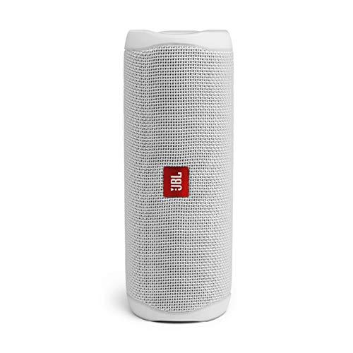 JBL Flip 5 - Altavoz inalámbrico portátil con Bluetooth, Resistente al agua (IPX7), JBL Party Boost, hasta 12h de reproducción con sonido de calidad, Color blanco