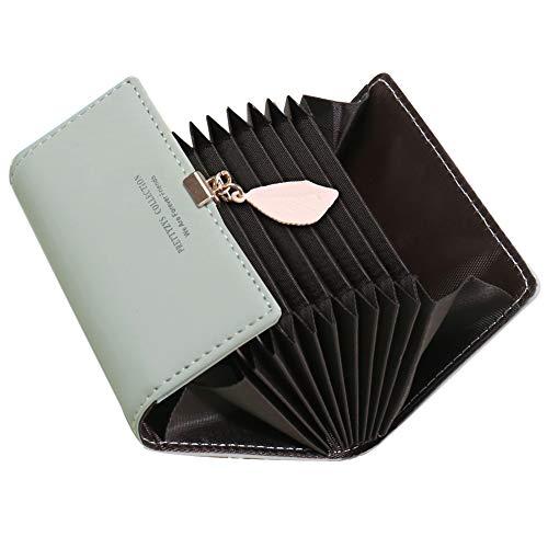 Tarjeteros para Tarjetas de Credito Mujer SAMKING Titular de la Tarjeta de Crédito Carteras de Cuero RFID Monederos con Cremallera (Gris)