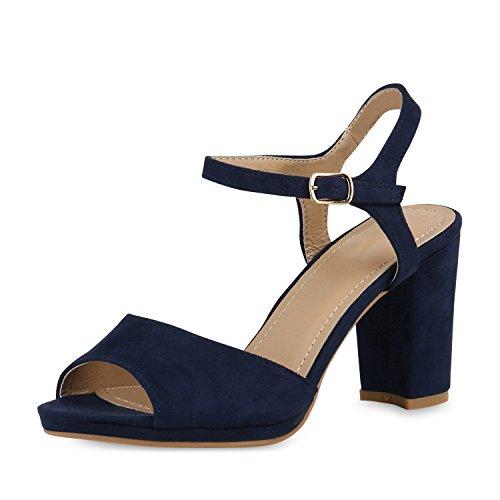 SCARPE VITA Damen Pumps Sandaletten Riemchensandaletten Blockabsatz Party Schuhe Wildleder-Optik Absatzschuhe Elegante Tanz 156509 Dunkelblau 37