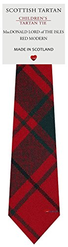 I Luv Ltd Garçon Tout Cravate en Laine Tissé et Fabriqué en Ecosse à MacDonald Lord Of The Isles Red Modern Tartan