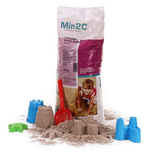 A&G-heute Min2C 25kg Spielsand Quarzsand für Kinder Sandkasten Dekosand geprüft gesiebt