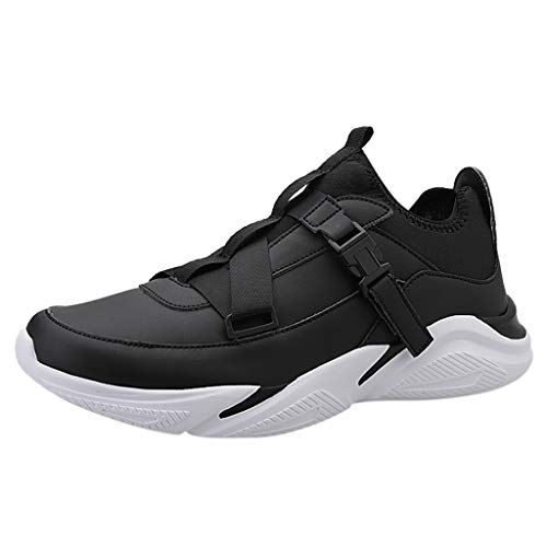 Best Review Of Men's Large Size Breathable Low-Top Sneakers Lightweight Anti-Slip Walking Shoes Blac...