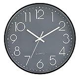 LENRUS Reloj de pared de 30 cm, moderno, de cuarzo, silencioso, con cifras arábigas, sin tictac, accesorios para el hogar, decoración (gris y negro)