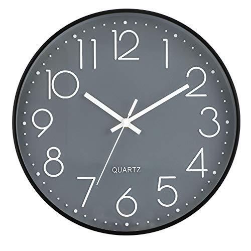 LENRUS 12 Zoll Wall Clock Modern Quartz Lautlos Wanduhr mit Arabisch Ziffer Wanduhren Ohne Ticken Wohnaccessoires Deko (Grau&Schwarz)