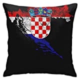 クロアチア旗と地図クロアチアのプライドスローホームベッドルームリビングルームクッションカバー装飾ピローケース家の装飾正方形18x18インチ枕カバー