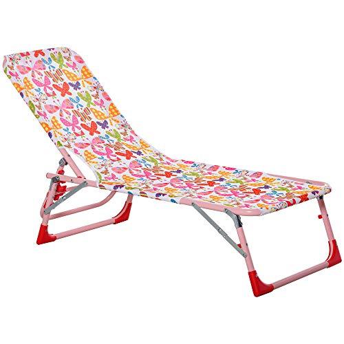 Outsunny Kinder Sonnenliege 180° verstellbar Strandliege Gartenliege Relaxliege Klappbar für 2-6 Jahre Metall Polyester Rosa 118 x 40 x 24 cm