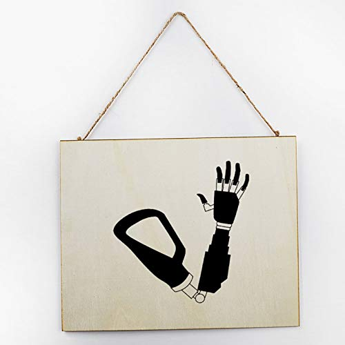 Vintage Large Wooden Hand Painted Sign Plaque Gift Kitchen Living Room Decor Handmade by Vintage Product Designer Prosthetic Arm Black Thumb Black-and-White Pattern