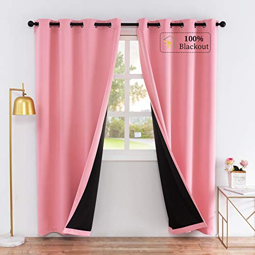Lofus 100% Blackout Curtains Thermal Insulated Solid Grommet Window Curtain Soundproof 3 Layers Black Liner Full Room Darkening Drapes for Bedroom Living Room, 2 Panels, Pink, 52 x 45 Inch