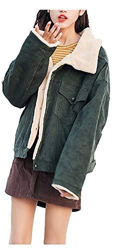 CYSTYLE Winter Retro Vintage Damen Fleece gefüttert Cordjacke Freizeit Warm Jacken Oberteile Casual Langarm Outwear (Grün, S)