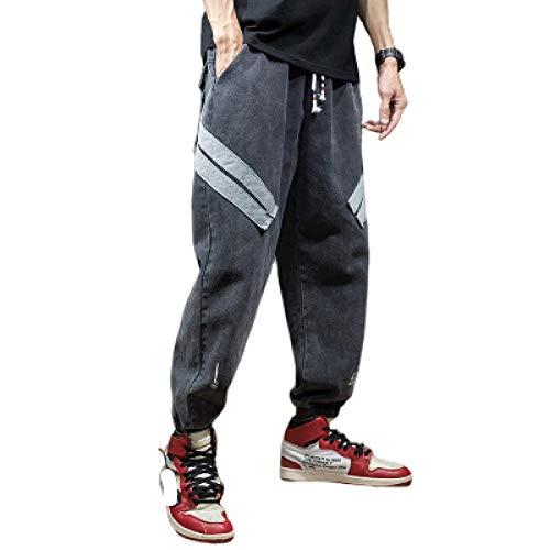Pantalones Harem de Mezclilla para Hombre, Cintura elástica, diseño de retales con Personalidad, Pantalones Casuales con pies de viga de Moda Informal XX-Large
