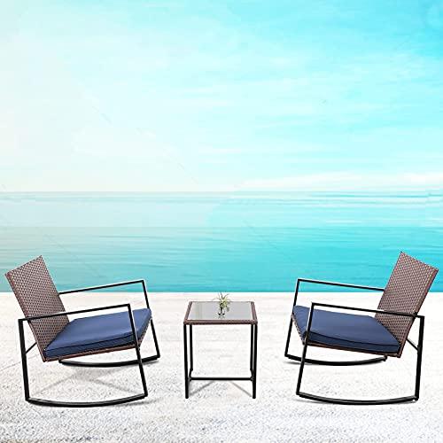 Gartenmöbel-Set, 3-teilig, Schaukelstühle, Rattan, Outdoor, Gartentisch und Stühle, Bistro-Stühle und Couchtisch mit Außenkissen für Essen, Grillen, Lesen, Entspannen.
