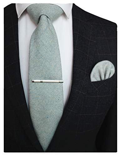 JEMYGINS Kaschmir Wolle Hellgrün Krawatte und Einstecktuch Krawattenklammer Sets Schwarz Krawatten für Herren(3)