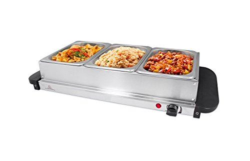Invero Compact 3-Section Stainless Steel Food Buffet Server and Warming Hotplate Tray with Adjustable Temperature Control, Clear Lids and Cool Touch Handles - 200W