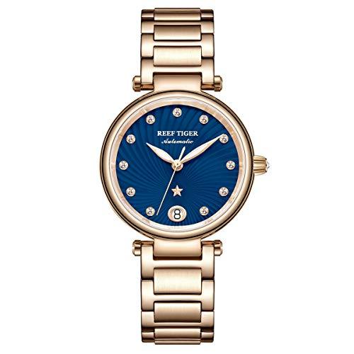 Reef Tiger Damen-Armbanduhr Analog Automatik mit Rotgold Armband RGA1590-PLP