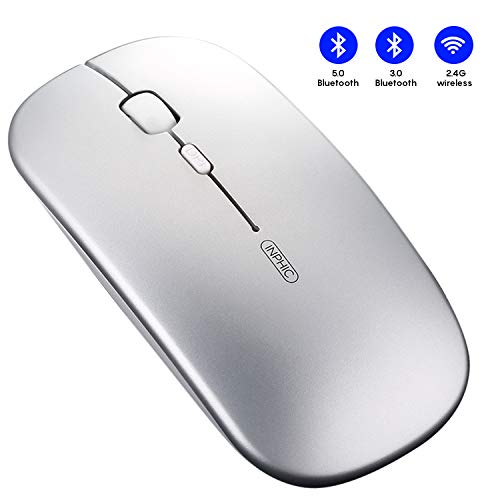 INPHIC Bluetooth Maus, 3-Modus Silent wiederaufladbare Maus kabellos (Bluetooth 5.0/3.0+2.4G Wireless), 1600 DPI tragbare Bluetooth-Funkmaus für Mac,MacBook,Laptop,Android Tablet,PC,Computer