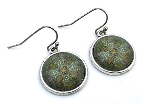 Celtic Cross Earrings - Green Celtic Knot - Handmade