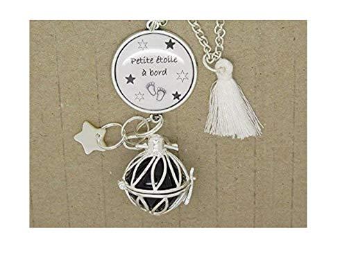 Bola de Grossesse Argent Plaqué Personnalisable collier sautoir avec cabochon personnalisable cadeau future maman, cadeau de grossesse; cadeau fête prénatale.