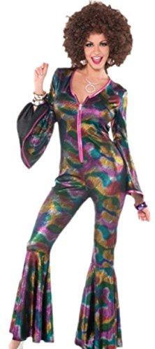 Faschingsfete Damen Faschingskostüm Disko Jumpsuit im Glitzerdesign, S/M, Mehrfarbig