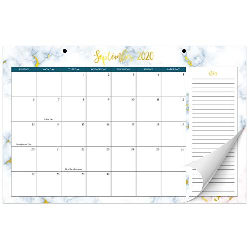 Beautiful 2020-2021 Marble Desk Calendar 17' x 11' - 18 Month Desktop/Wall Calendar with Note Section for Easy Planning Until December 2021