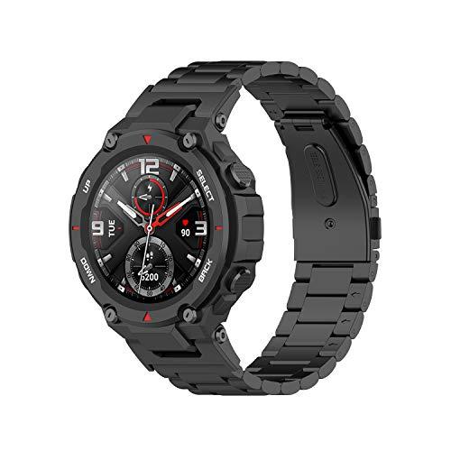 RuenTech Pulsera compatible con Amazfit T-Rex pulsera de metal, accesorio compatible con Amazfit T-Rex Smart Watch correas (negro)
