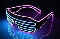 光る LED メガネ マルチカラー コスプレ仮装 カラオケやパーティやイベントに適用 光るアイテム衣装 電池ボックス付き パーティー 仮装 コンサート 発表会用小物 【パープル /ブルー】